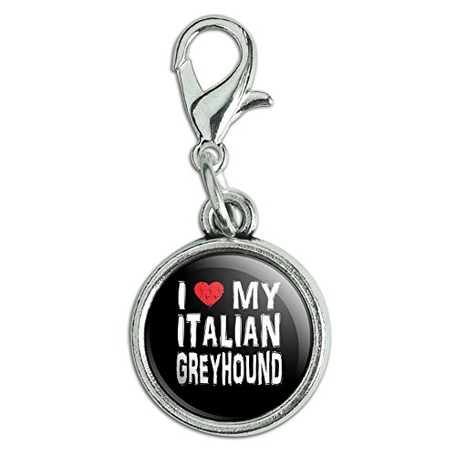 Antiqued Bracelet Pendant Zipper Pull Charm with Lobster Clasp I Love My Dog E-K - Italian - Dog Greyhound Charm
