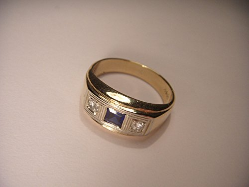 Sapphire Tone Two 14k Gold (Antique 14K Two-Tone Gold Sapphire Diamond 3-Stone Unisex Band Ring)