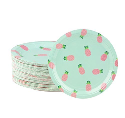 Disposable Plates - 80-Count Paper Plates, Pineapple Party Supplies for Appetizer, Lunch, Dinner, and Dessert, Kids Birthdays, 9 x 9 Inches