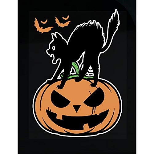 worlddesignsclub Black Cat on Halloween Night Scary Pumpkin Funny Gift - Transparent Sticker