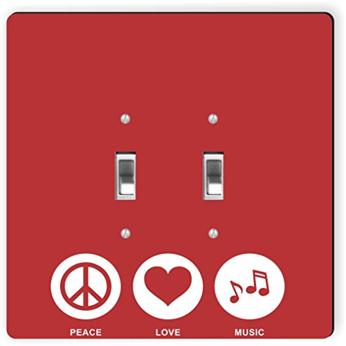Rikki Knight 42383 Double Toggle Peace Love Music Red Color Design Light Switch Plate by Rikki Knight