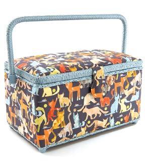 Medium Rectangle Sewing Basket Box with Tray Pincushion 11x7x6.5 Medium 11x7x6.5, Dresses
