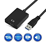 hdmi to usb 3 converter - USB 3.0 to HDMI HD 1080P Video Convertor with Audio Output Multiple Monitors for Laptop HDTV TV PC with Windows XP / 7 / 8 / 8.1 / 10 [ NO MAC & VISTA ]