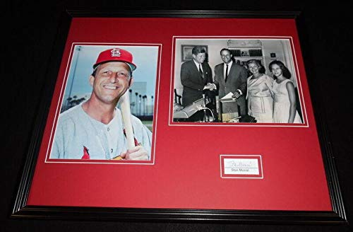 (Stan Musial Autographed Photograph - Framed 16x20 Set w JFK - PSA/DNA Certified - Autographed MLB)