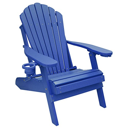ECCB Outdoor Outer Banks Deluxe Oversized Poly Lumber Folding Adirondack Chair Royal Blue