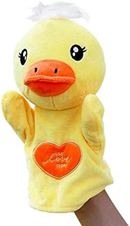 HuaQingPiJu-JP かわいい子供の手袋人形ソフトぬいぐるみのおもちゃ漫画動物の人形のおもちゃ(アヒル)