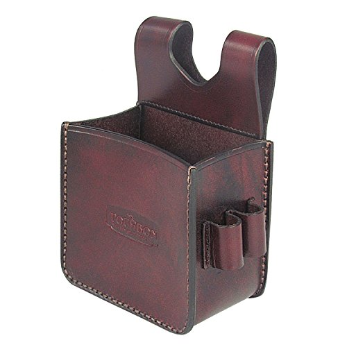 TOURBON Vintage Genuine Leather Waist Shooting Ammo Bag Shotgun Shell Pouch - Holds A Box of 25 Rounds from TOURBON