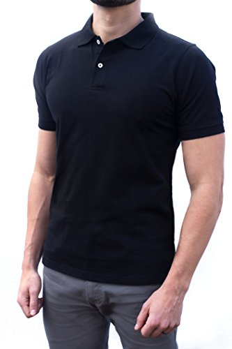 Comfortably Collared Men's Perfect Slim Fit Polo Shirt Black (Large)