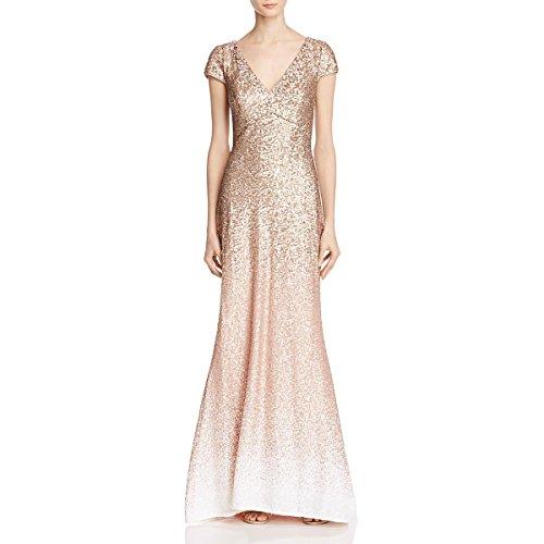 Carmen Marc Valvo Womens Sequined Ombre Evening Dress Pink 4 (Carmen Marc Valvo Wedding)