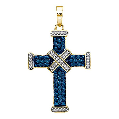 Roy Rose Jewelry Yellow-tone Sterling Silver Ladies Blue Colored Diamond Cross Religious Pendant 1/4 Carat (Silver Tone Yellow Cross)