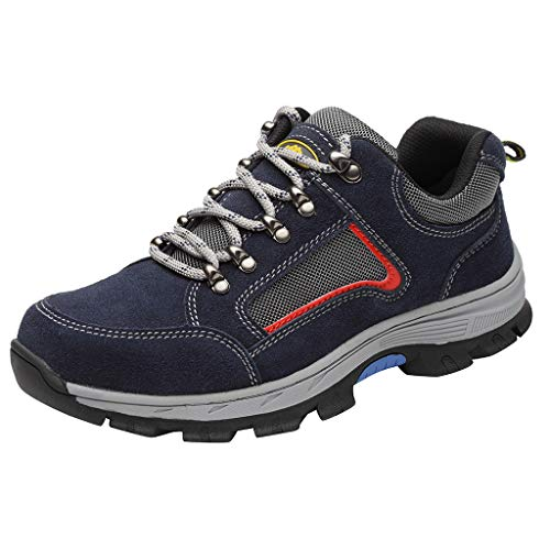 Price comparison product image Unisex Steel Toe Shoes Popular Safety Work Reflective Strip Puncture Proof Footwear Industrial & Construction Shoe (Blue