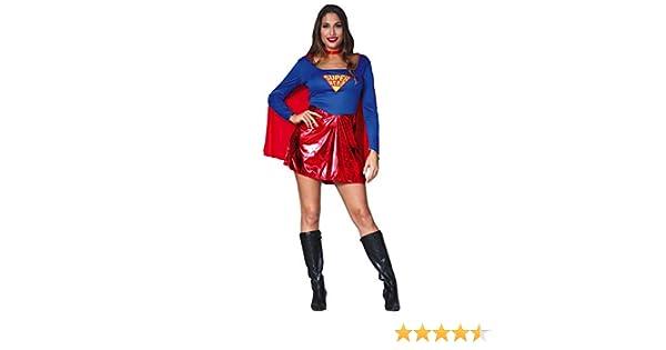 FIESTAS GUIRCA Disfraz Mujer superheroína con Capa Rojo Talla s ...