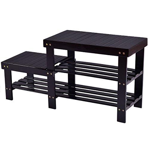 Costway 2-tier Bamboo Shoe Bench Storage Racks Boot Organizer Double-Deck (Black) - Double Deck Organizer