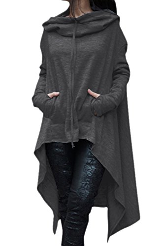 Camiseta De Manga Larga De Las Mujeres Irregulares Hoodie Outwear Tops Darkgrey