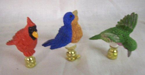 - 3 Piece Set Porcelain Bird FINIALS Bluejay, Cardinal and Hummingbird