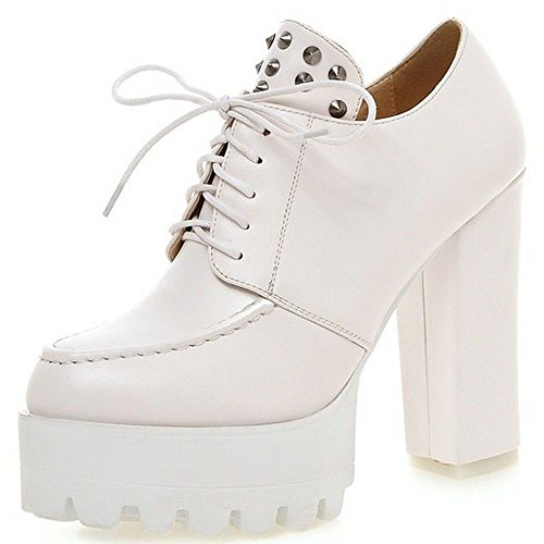 up Women Heeled White Casual Block British Classic Boots Lace LongFengMa Shoes Pumps 0C1dCw