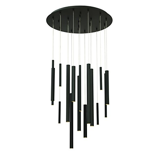 (Eurofase Santana Clustered Tubes 18 LED Chandelier, Matte Black Finish, 24 Inches in Diameter-Model 31445-016, Frosted)