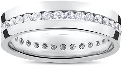 Mens 1 1/4ct Real Diamond Channel Set Eternity Ring Wedding Band Anniversary