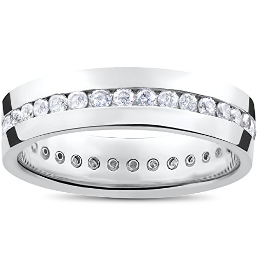 Mens 1 1/4ct Real Diamond Channel Set Eternity Ring Wedding Band Anniversary