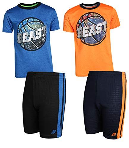 Pro Athlete Boys 4-Piece Matching Performance Basketball Shirt and Short Sets (Beast Mode, 8)'