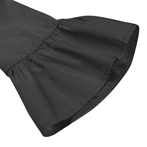 Noir Bouton Plage Cou Sundress Casual Robe O Ete de Femme Chic 42 S Mini Boho 36 XL Couleur Robe 3 Robe Trois Trimestre Guesspower wxFqfgnA6I