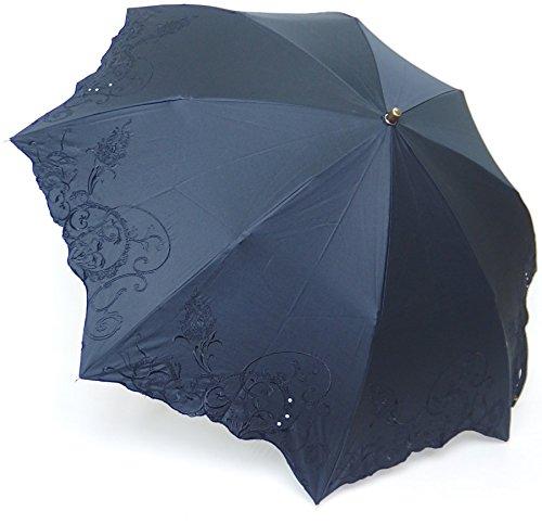 高級傘 晴雨兼用 日傘 上品な 綿サテン 多頭刺繍 ラインストーン 50cm 折りたたみ傘 B0747495Q7 ブラック ブラック