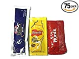 75 pack bundle: 25-Kraft Mayo, 25-Hunt's Ketchup, 25-French's Mustard bundled, each in its own bag