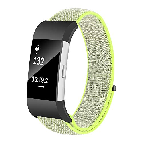 SHUDAGE Smartwatch Sports Nylon Band Compatible Fitbit Charge 2 (Small), Woven Fabric Wristbands Bracelet Strap for Fitbit Charge 2, Women Men (green)