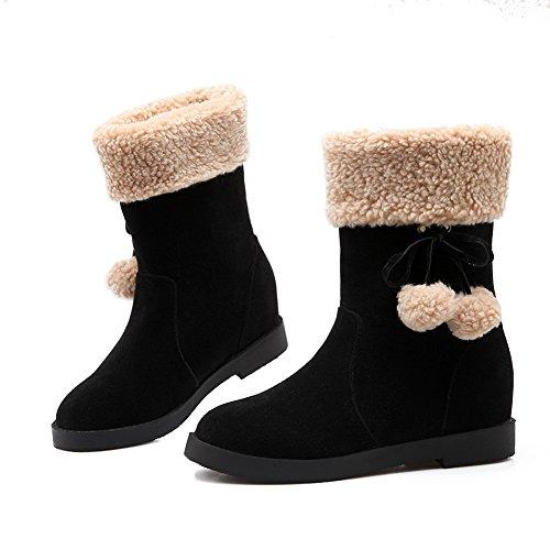BalaMasa Ladies Pom-Poms Spun Gold Bowknot Fur Collar Frosted Boots Black lrk0grv