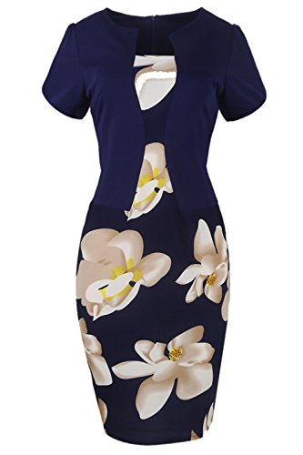Women's Floral Print Short Sleeve Split Cocktail Party Bodycon Dress (Navy,L)