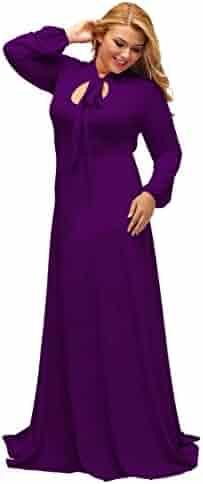02fb5462732 Lalagen Women s Vintage Long Sleeve Plus Size Evening Party Maxi Dress Gown