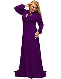 Women's Vintage Long Sleeve Plus Size Evening Party Maxi Dress Gown
