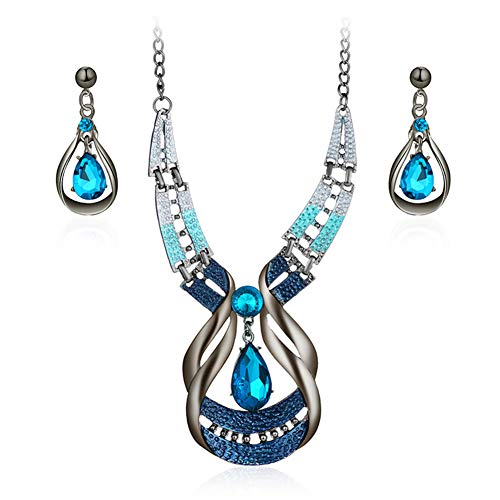 - Water Drop Necklace Stud Earrings Set, Vintage Retro Faux Sapphire Pendant Clavicle Chain Earring Jewelry Set Antique Necklace Women Gift