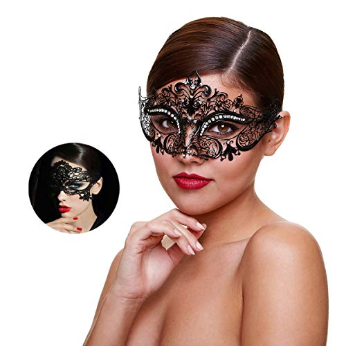 - Masquerade Mask for Women Shiny Rhinestone Venetian Party Prom Ball Metal Mask (Kitty)