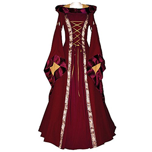 Medieval Queen Dress (Haolong Women Renaissance Medieval Irish Costume Over Dres Vintage Style Gothic Dress (large, wine red))