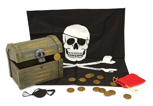 Melissa & Doug Wooden Pirate Chest (Pretend Play Treasure Chest Set, Pirate Dress-Up Accessories) -