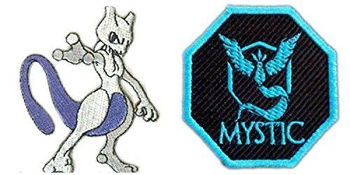J&C Pokemon Mew Two and Team Mystic Logo 2-Pack Gift Set Embroidered Sew/Iron-on - Mew Logo