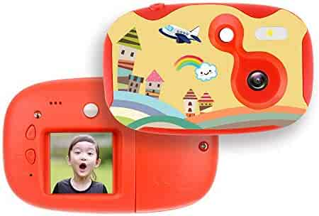 AMKOV DIY Kids Camera Rechargeable Digital Mini Camera Children Creative Camcorders with 1.44 Inch LCD Screen, Video Recorder, Reset Button, 2 Blank Covers & Stickers, Perfect Gift for Girls/Boys, Red