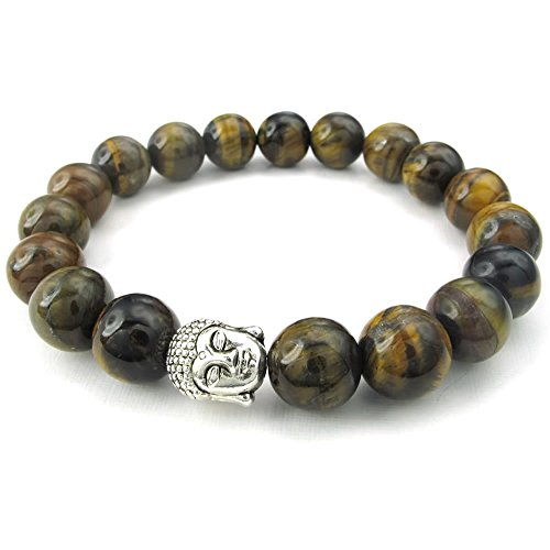 Eye Stone Cross (KONOV Tiger Eye Gemstone Mens Womens Bracelet, 10mm Energy Bead, Buddha Mala, Brown)