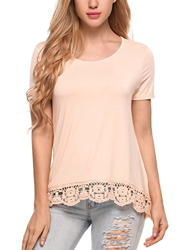SoTeer Women Lace Boho Gypsy Shirt Peasant Top Blouse Apricot Small