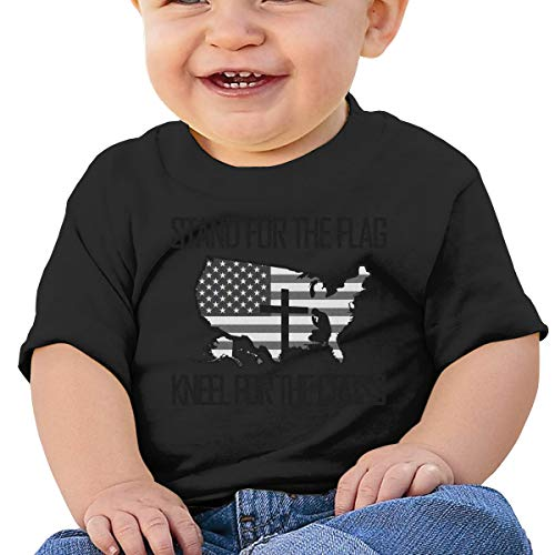 Baby Short Sleevey,National Anthem Stand for The Flag Kneel for The Cross UBaby Boy Girl Short Sleeve T-Shirt Tops Casual Outfit 6M Black