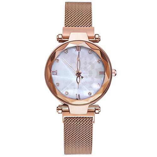 WUAI Women's Fashion Watch Under 10 Dollar Classic Stainless Steel Mesh Band Quartz Watch