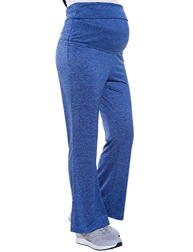 Bhome Women's Fold Over Waist Stretch Yoga Pants Boot Cut Flare Leg Workout Maternity Leggings Navy Blue L by Bhome