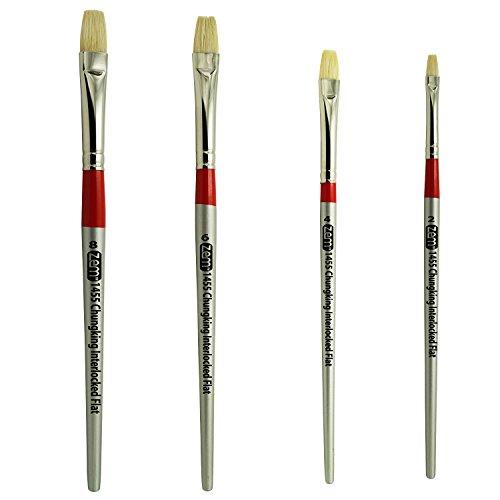 ZEM BRUSH Chungking Deluxe White Hog Bristle Interlocked Flat Artist Brush Set Sizes 2,4,6,8 - 4 Flat White Hog