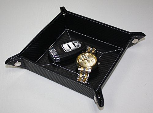 5 Travel Valet Tray - Black Carbon Fiber Catchall Coin Case Valet Tray & Catch-all for Keys, Phone, Jewelry, Valet, Accessories