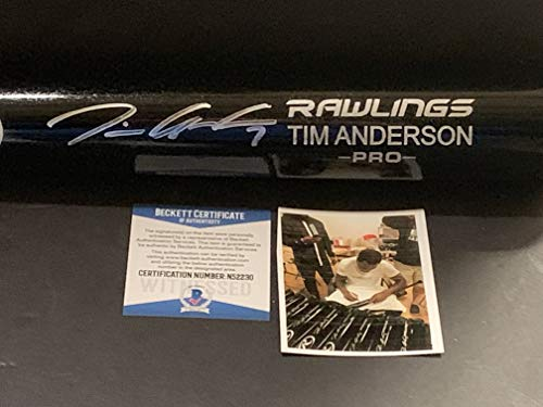 Sox Autographed Baseball - Tim Anderson Chicago White Sox Autographed Signed Black Baseball Bat Beckett WITNESS COA