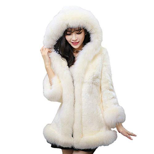 Femme Cardigan Automne Hiver  Capuchon Fourrure Blouson Mode lgant Warm Costume Fourrure Synthtique Veste en Fourrure Couleur Unie Manches Longues avec Poches Jacken Manteau Blanc