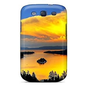 Galaxy S3 Hard Back With Bumper Silicone Gel Tpu Case Cover Yellow Sunset