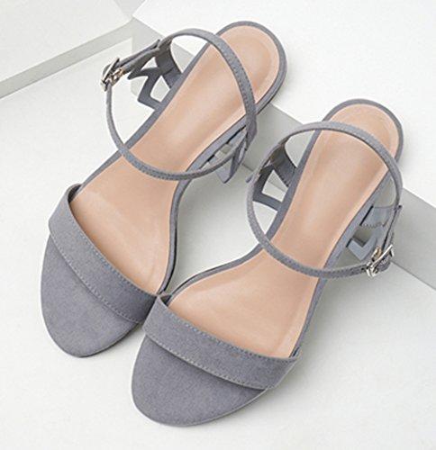 Correas Tacón Boda Sandalias Verano Zapatos de Bajo TieNew de de Cruzadas para Sandalias Fiesta Sandalias Mujer de Mujer 2018 Gris Zapatillas Zapatos Cuña y Casual de para Planas UxwqB6w