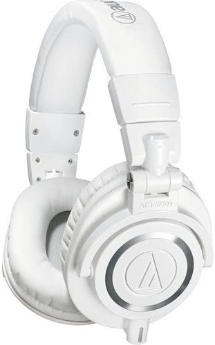 Audio-Technica ATH-M50x Professional Studio Monitor Headphones, White Renewed